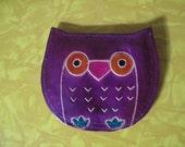 Cute boho TRIBAL purple OWL coin/change purse