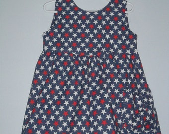 Red,white and blue dress girl size 4 through 8