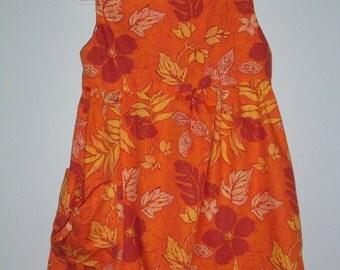 Orange/ flower Hawaiian print sundress Girls sizes 4,5,6,7,8