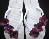 "The ""Elizabeth"" White Flip Flop Sandal with Purple flowers - great for beach - bride - wedding - bridesmaid gift"
