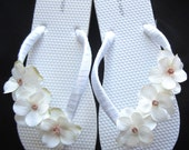 "The ""Trista"" White Flip Flop Sandal with Ivory flowers - great for beach - wedding - bride - bridesmaid gift"