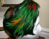 Vintage Ladies Hat Gorgeous Feathers Vivid Green and Other Color Combo Mid Century with Hatbox