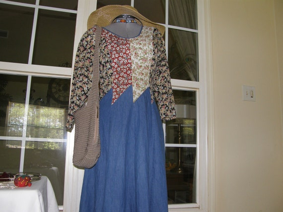 Vintage Dress 70s Hippie Boho Dress is Denim with Calico Type Patchwork of Scarf-like Fabric