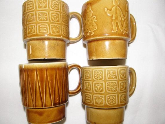 Retro Stackable Coffee Mugs Set of 4