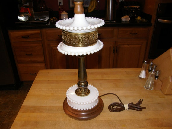 Vintage Milk Glass Hobnail and Brass Table Lamp