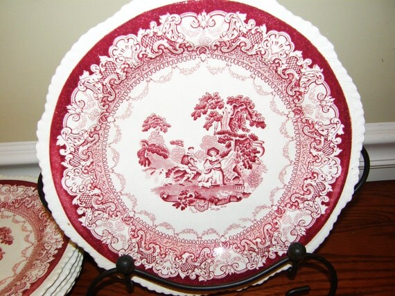 For Teri 4- Antique Transferware Watteau Red Plates Enoch Woods and Sons Burslem England The Minstrels Collectible Porcelain