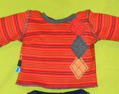 Upcycled striped boutique t-shirt with appliques - for 15 or 16 inches Bamboletta or Waldorf style -custom order only