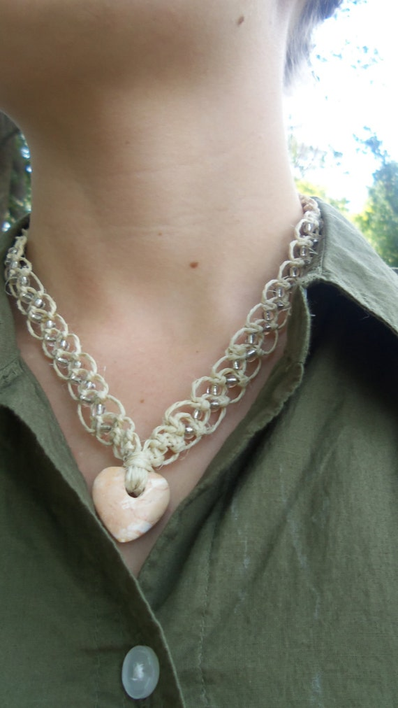Hemp Necklace with Heart Stone Pendant