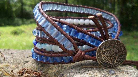 Blue and White Distressed Brown Leather Wrap Bracelet w/ Coin Button