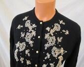 BEADED EMBELLISHED cardigan sweater - black - rhinestone beaded floral motif 6 8 S