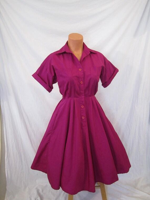 BLOOMING BOUGAINVILLEA vibrant plum retro shirt dress - full skirt - classic sz 4 XS S