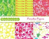 "Paradise Digital Papers for scrap booking Collage Art Crafts Card making Sea Turtle Fish 12""x12"""