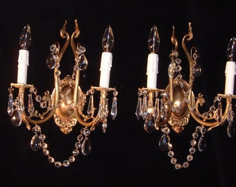 Pair of  French style bronze & crystal wall light sconces unique design by Sergio Merlin