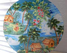 "Vintage Look HAWAII Decorative Decoupage Glass Plate - Hawaiian Shirt Plate ""Old Hawaii"" decor Unique Vintage Hawaiian Decor Plate"