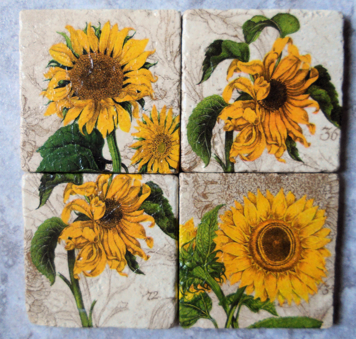 SUNFLOWER Coasters by CraftyCatPlates on Etsy