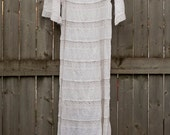 RESERVED: 70's vintage white CROCHET LACE maxi dress w/ bell sleeves