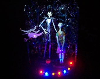 Nightmare Before Christmas Bride , Groom and Zero Wedding Cake Topper Colored Light