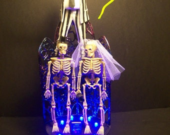 Beetle Juice Beetlejuice Bride and Groom Wedding Cake Topper Gothic *WHITE* Lights Funny