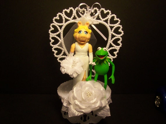 KERMIT the Frog & Miss Piggy Wedding Cake Topper FUNNY The MUPPET Show Mayhem
