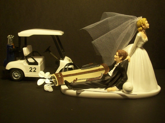 funny golf themed wedding cake toppers no golf with cart and groom wedding cake topper by 14545