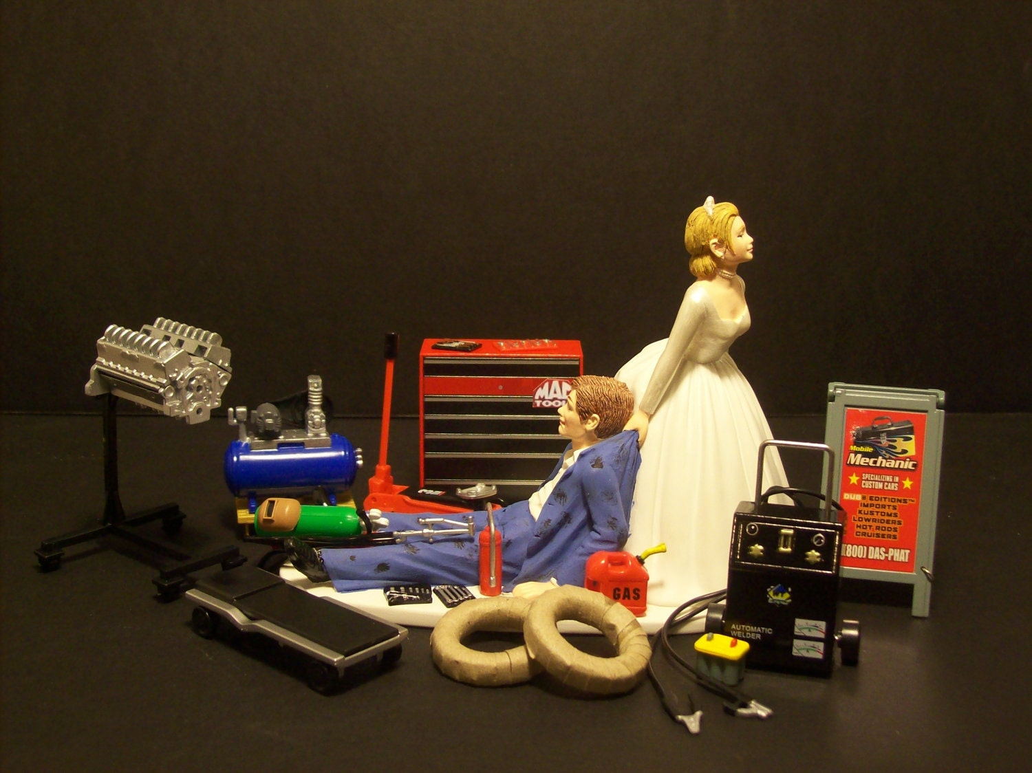 Mechanic Bride and Groom Funny Wedding Cake Topper by
