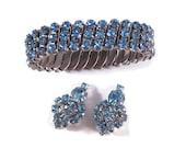 Vintage Rhinestone Jewelry Set Expansion Bracelet Clip on Earrings Ice Blue Rhinestones