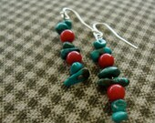 MORI signature line - turquoise and red earrings