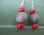 MORI signature line - pewter, red, spiral. earrings
