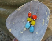 Moon Over Miami - orange, yellow, blue glass beads, short dangle earrings