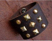 Chocolate Leather Cuff With Rusted Ornaments