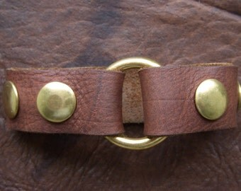 Ring and Snap Leather Bracelet