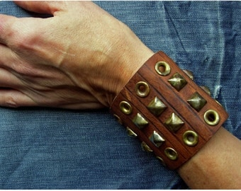 Big Rustic Leather Cuff With Rusted Studs and Grommets