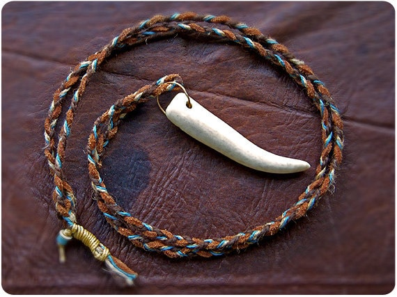 Braided Leather Lariat with Antler
