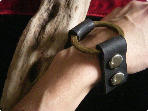 Leather Cuff Bracelet with Beaten Brass Ring