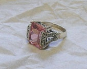 Pink Topaz and Marcasite Sterling Silver Ring - Art Deco Style - Vintage