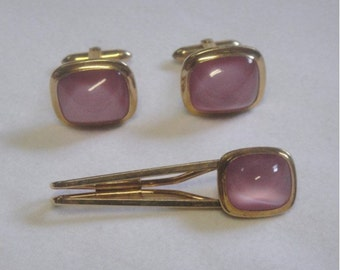 Cuff Links and Tie Bar SET - Pink Cab and Gold by CORRECT - Vintage
