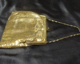 Whiting and Davis Gold Mesh Purse - 1940s Vintage