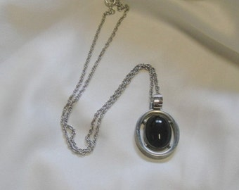 Pewter and Black Cabochon Pendant Necklace - Vintage