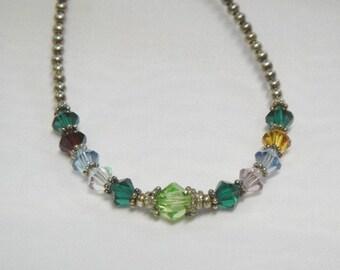 Multi Gemstone Necklace - Sterling Silver - Vintage