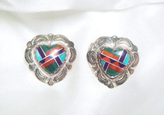 Heart Earrings - Sterling Silver and Inlaid Stone - Southwestern Turquoise, Malachite, Coral - Vintage