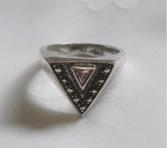 RESERVED for LAUREN Ring - Marcasite Amethyst Sterling Silver - Vintage