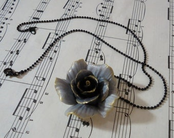 Dark Gray-Black Gold Trimmed Rose That Never Fades - Handmade in Clay
