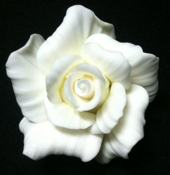 White Rose - Handmade Rose Brooch