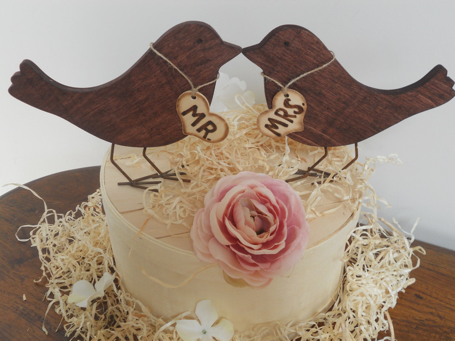 Wedding Cake Topper Wooden Love Birds Rustic by ThoseDays