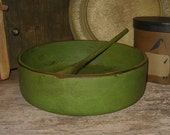 Vintage Hand Painted Wooden BOWL and SPOON-Antique Avocado GREEN-Wood Primitive Decor-Centerpiece