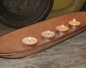 Antique PEACH Wooden BOWL/Tray-For Candles-Fruit-Bread-Centerpiece-Tea Light Candles Included