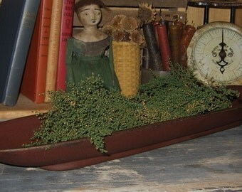 Long PRIMITIVE Wooden Bread/Candle BOWL Tray-Painted Antique BURGUNDY-Country Decor-Wood
