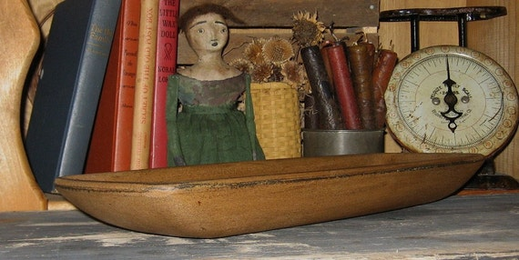 Primitive Wooden Bread/Candle BOWL-Tray-Painted Antique MUSTARD-Country Decor-Wood Centerpiece