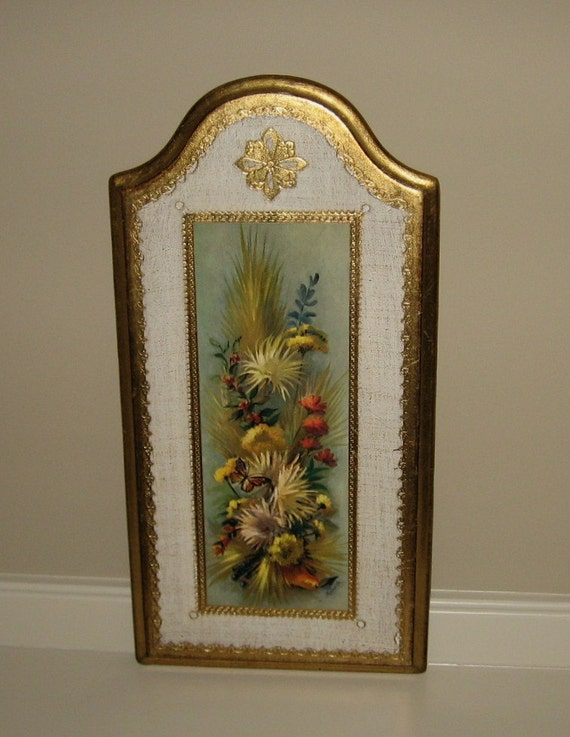 Vintage Italian Gilted Florentine Wood Framed FLORAL BUTTERFLY Picture-Print-Plaque