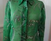 Vintage 1970s MISS SHAHEEN Sheer Emerald Tiki Blouse